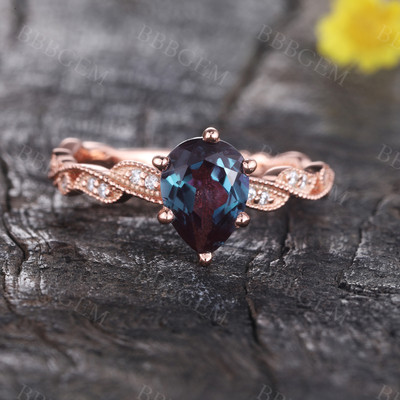 Vintage Alexandrite Engagement Ring, Pear Shaped Alexandrite Ring, Floral Ring