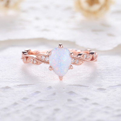 Rose Gold Opal Ring-BBBGEM Teardrop Opal Ring