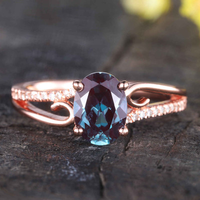 Alexandrite Engagement Ring,Split shank rose gold ring,diamond wedding band,unique engagement rings for women