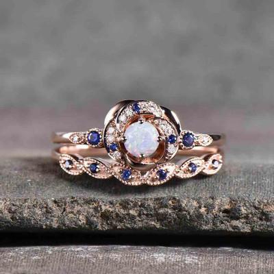 opal engagement ring set