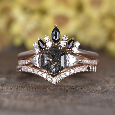 Black Rutilated Quartz Rose Gold Engagement Ring Set Diamond Wedding Band