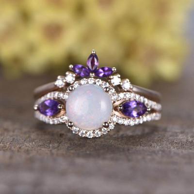 fire opal ring set