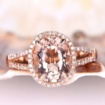Rose Gold Morganite Halo Engagement Ring With Diamond 2.5 Carat Split Shank Promise Band 14k/18k