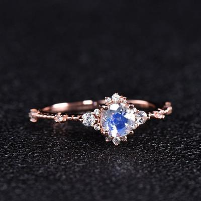 Dainty Moonstone Engagement Ring