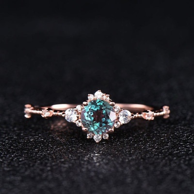 Rose Gold Alexandrite Ring-BBBGEM Alexandrite And Diamond Ring