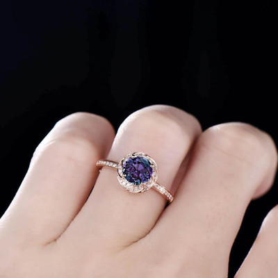 alexandrite diamond ring