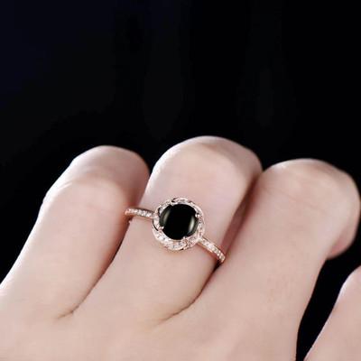 natural black onyx ring