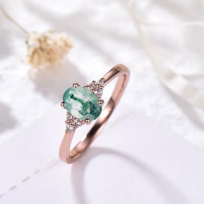 women moss agate ring