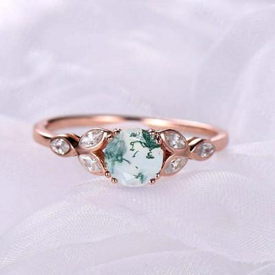 Natural Moss Agate Rose Gold Women Engagement Ring Wedding Bridal ring