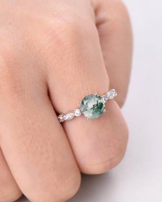 moss agate wedding ring