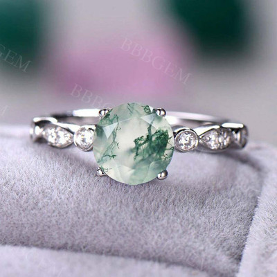 Moss Agate White Gold Diamond Engagement Ring Solitaire Ring