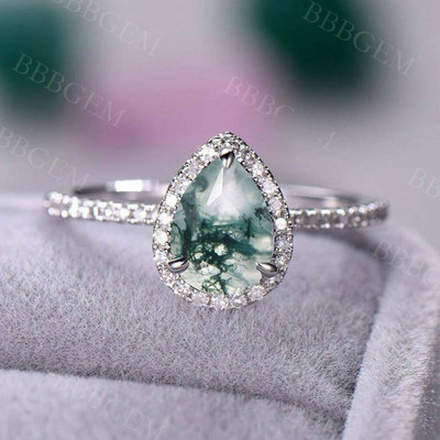 Pear Moss Agate white gold diamond engagement ring halo vintage ring