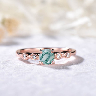 natural moss agate ring