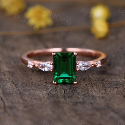 1CT Emerald Engagement Rings-BBBGEM Emerald Engagement Rings