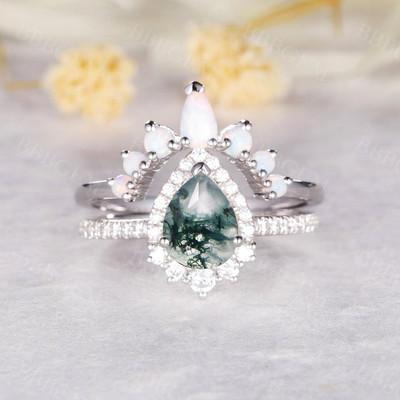 Moss Agate Engagement Rings-BBBGEM Moss Agate Engagement Rings
