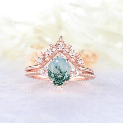 Moss Agate Engagement Ring Set-BBBGEM Moss Agate Engagement Rings