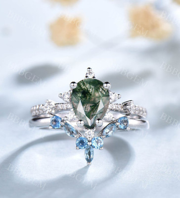 Pear Shaped Moss Agate Engagement Ring -BBBGEM Moss Agate Engagement Rings