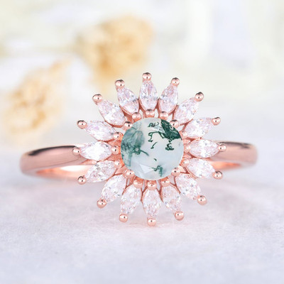 Round Cut Moss Agate Ring-BBBGEM Moss Agate Engagement Rings