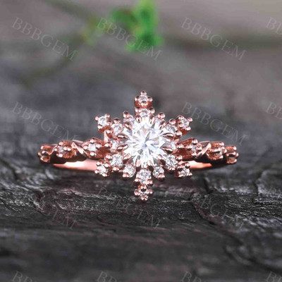 0.5CT Round Cut Moissanite Engagement Ring Solid Rose Gold Moissanite Wedding Band