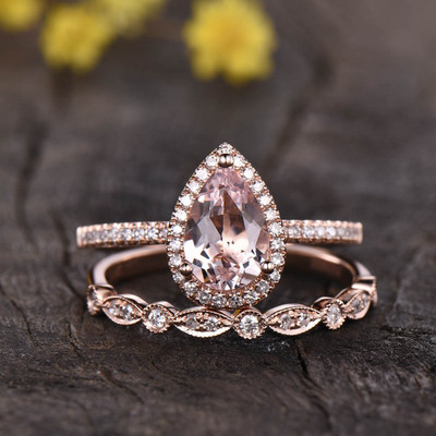 pear shaped Rose Gold Morganite Wedding Set 0