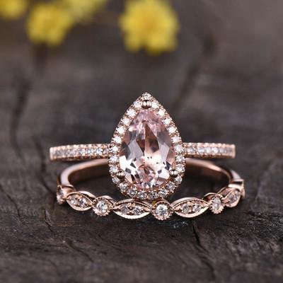 pear shaped Rose Gold Morganite Wedding Set 0
