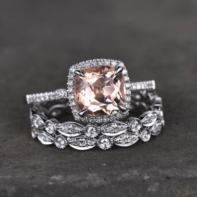 White gold morganite wedding set
