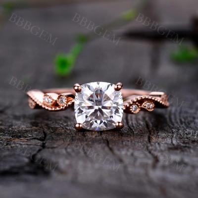 Rose Gold Moissanite Ring-BBBGEM Rose Gold Moissanite Ring