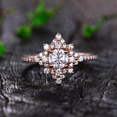 Rose Gold Moissanite Engagement Rings-BBBGEM Rose Gold Moissanite Engagement Rings