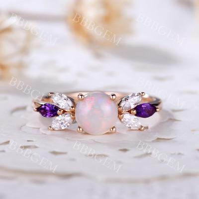 Rose Gold Opal Ring-BBBGEM Rose Gold Opal Ring