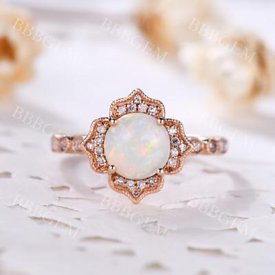Opal Diamond Ring-BBBGEM Opal Diamond Ring