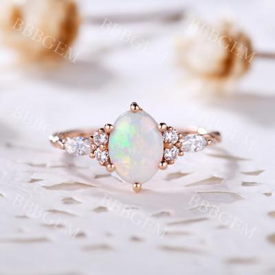 Opal Engagement Rings-BBBGEM Rose Gold Opal Ring