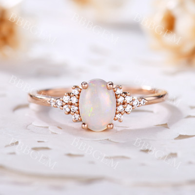 Opal And Diamond Ring-BBBGEM Opal And Diamond Ring