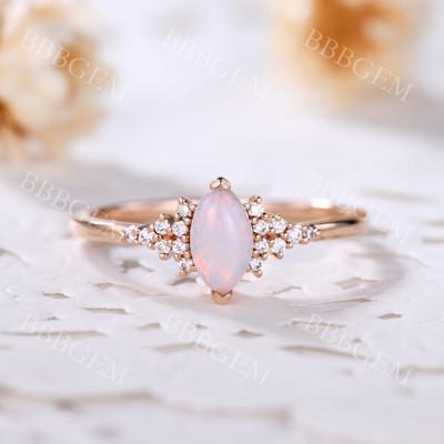 White Opal Engagement Rings-BBBGEM White Opal Engagement Rings