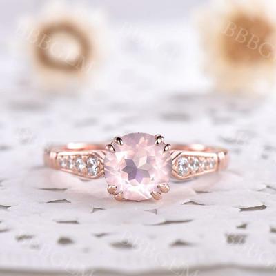 rose quartz ring-bbbgem rose quartz ring