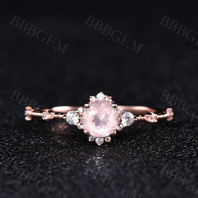 rose quartz wedding ring-bbbgem rose quartz wedding ring