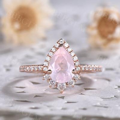 rose quartz gold ring-bbbgem rose quartz gold ring