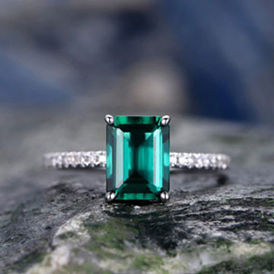 Emerald And Gold Ring-BBBGEM Emerald Solitaire Ring