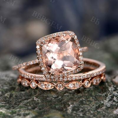 3 Carat Cushion Morganite Wedding Set Diamond Rose Gold Engagement Ring Art Deco Half Eternity