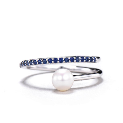 6mm Akoya pearl ring sapphire engagement ring