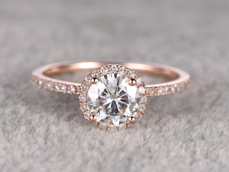 7mm Round Moissanite Engagement Ring Diamond Wedding Ring 14k Rose Gold Halo Prong Set Bbbgem