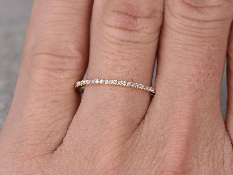 Pave Wedding Band.Diamond Wedding Rings For Her 14k Yellow Gold Thin Pave Full Eternity Band Annivery Ring