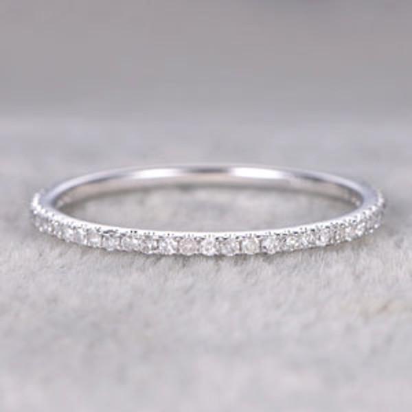 Pave Wedding Band.Diamond 3 4 Eternity Rings 14k White Gold Thin Micro Pave Wedding Band Stacking Ring