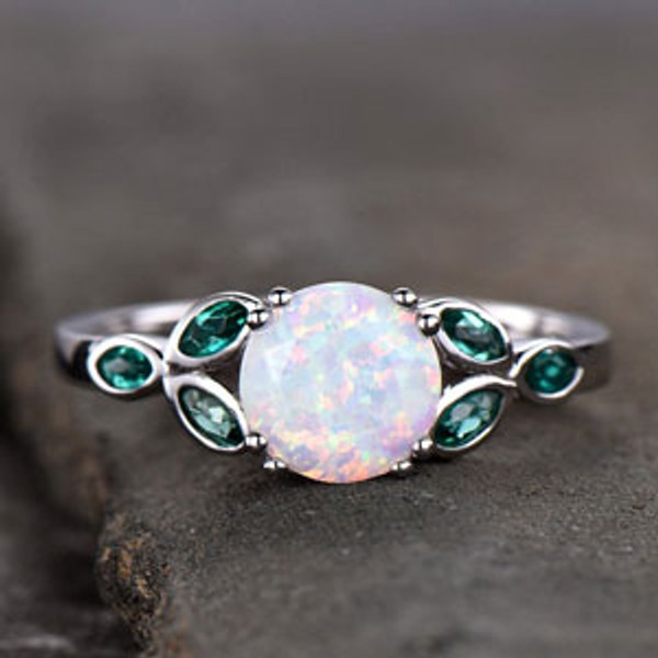 fac500a51fa372 BBBGEM_KB. Opal Ring,Opal and Emerald Engagement Ring,White Gold Ring,October  Birthstone,Promise Ring Wedding Band Promise Anniversary Ring