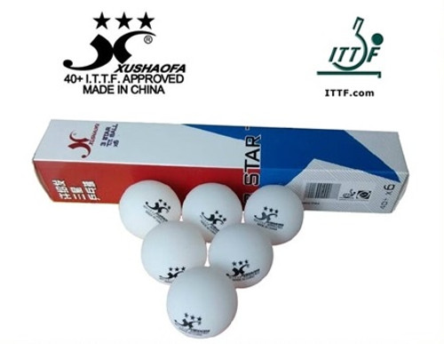 Xushaofa 40+ 3 Star Balls ittf pack of 6 pcs white (seamless)