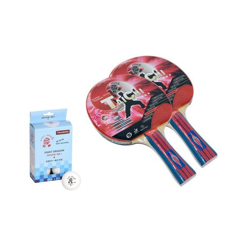 Bundle - 2 Giant Dragon Tai Chi 3 Star Rackets +  6 Giant Dragon Silver 1 Star White 40+ Balls