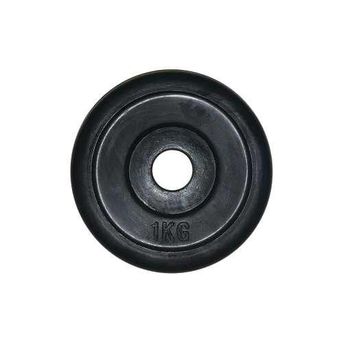 1 Kg Black Rubber Coated Regular Weight Plates (1 pc)