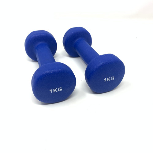 Round Neoprene Dumbbells Blue - 1 kg x 2 pcs