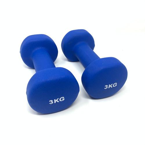 Round Neoprene Dumbbells Blue - 3 kg x 2 pcs
