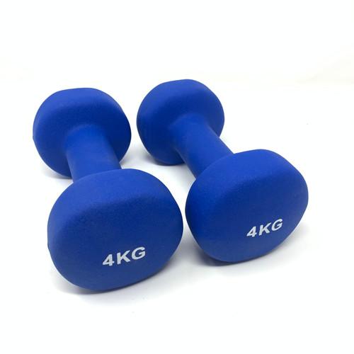 Round Neoprene Dumbbells Blue - 4 kg x 2 pcs