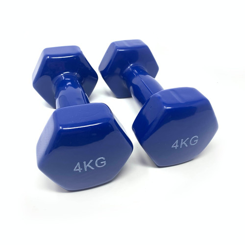 Hexagon Vinyl Dumbbells Blue - 4 kg x 2 pcs